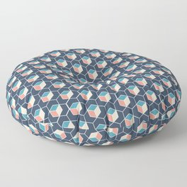 Amazing geometric cube design in cool looking colors Floor Pillow