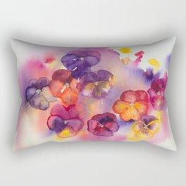 Spring watercolor flowers art colorful pansies Rectangular Pillow