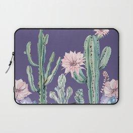 Desert Cactus Succulents + Gemstones on Deep Purple Laptop Sleeve