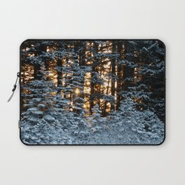 Snow Covered Pine Trees Photography Print Laptop Sleeve