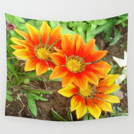 Three Bright Colored Gazania Flowers and Garden Wall Tapestry