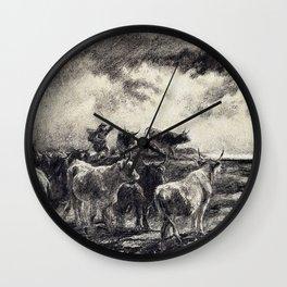 Rosa Bonheur - A Cowherd Driving Cattle - Digital Remastered Edition Wall Clock