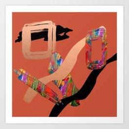 Abstract Collage on Orange Art Print
