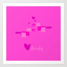 Love Birds-Pink Art Print