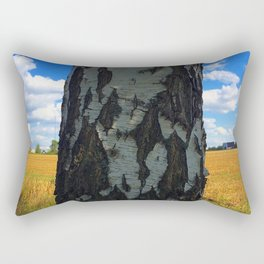 The birch tree view at village. Rectangular Pillow