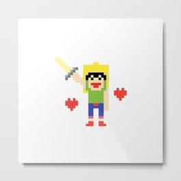 Pixel art mine craft warrior sword hearts Metal Print