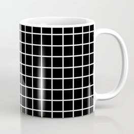 fine white  grid on black background - black and white pattern Coffee Mug