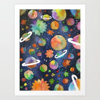 planet Art Prints featuring Planet by Michaella Fonseca