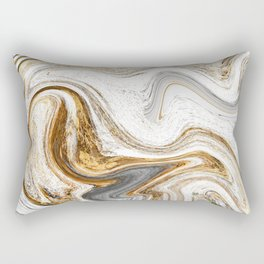 Gold, White, and Gray Abstract Painting Rectangular Pillow