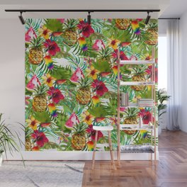 Tropical red yellow orange watercolor pineapple fruit floral Wall Mural