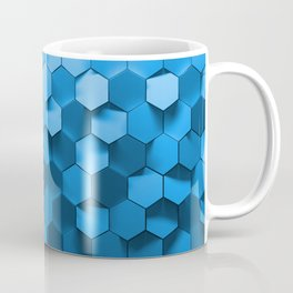 Blue hexagon abstract pattern Coffee Mug