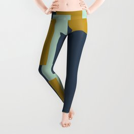 Cosmopolitan Minimalist Geometric Color Block Abstract in Mint, Golden Mustard, and Blue Leggings
