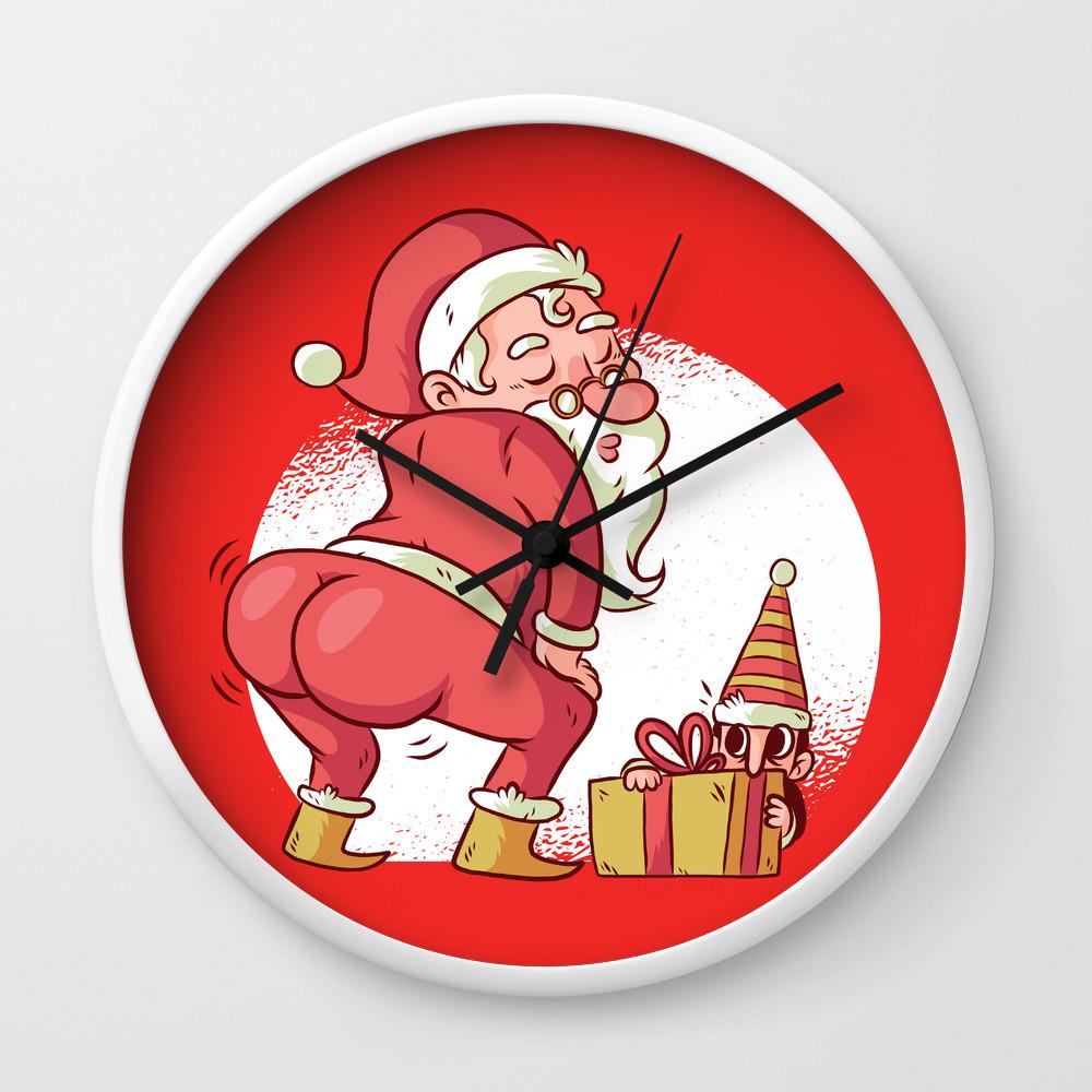 Santa Twerk Funny Christmas Dance Cartoon Wall Clock By Ashleyredmon Society6