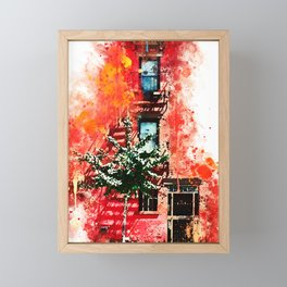 NYC Watercolor Collection - Red Facade Framed Mini Art Print
