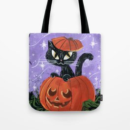 Halloween Black Kitten Cat Pumpkin Tote Bag