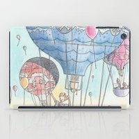 hot air balloon iPad Cases featuring Hot air balloon party by Dreamy Me