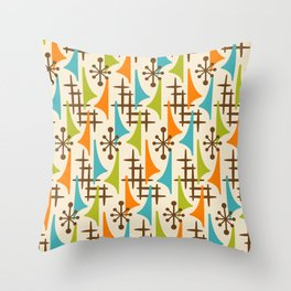 Retro Mid Century Modern Atomic Wing Pattern 421 Brown Orange Turquoise and Olive Green Throw Pillow
