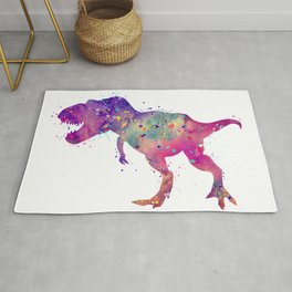 T-Rex Dinosaur Tyrannosaurus Rex Art Wild Animals Nursery Decor Kids Room Watercolor Pint Purple Art Rug