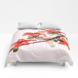 red orange kapok flowers watercolor Comforters