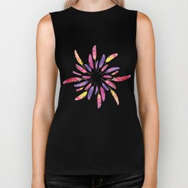 Wreath of colorful watercolor feathers Biker Tank