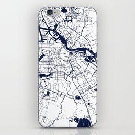Amsterdam White on Navy Street Map iPhone Skin