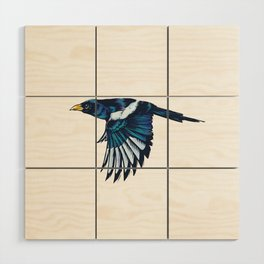 Yellow-billed Magpie Wood Wall Art