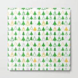 Cute Christmas Tree Pattern - Green Gold and Silver Metal Print
