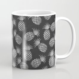 Tropical modern black gray pineapple fruit pattern Coffee Mug