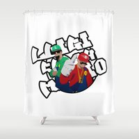 luigi Shower Curtains featuring Luigi clashes Mario Rap battle by Komrod