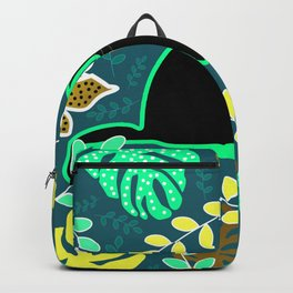 Curious cat and monstera leaves Backpack