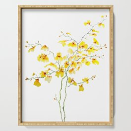 yellow Oncidium Orchid watercolor Serving Tray