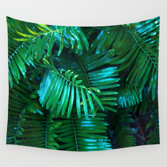 Green Palm Leaves Wall Tapestry