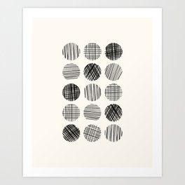 Abstract Line Work Circles in Black and Cream Art Print