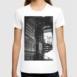 Stairs Trinity College Library Spiral Iron Wrought Staircase, Dublin, Ireland black and white photography T-shirt