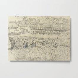 Landscape with Peasant Women Harvesting Metal Print