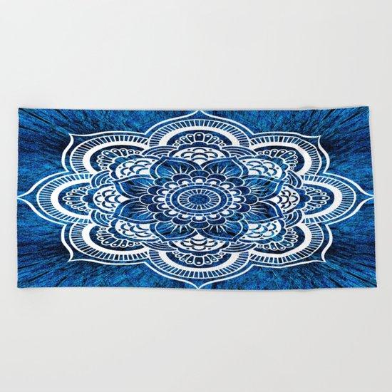 Mandala Cerulean Blue Colorburst Beach Towel