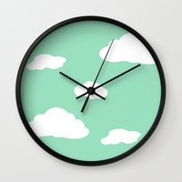 airplanes Wall Clocks featuring Paper Airplanes - You Can Fly - Cloud Variation - Julep by Sugar Spice and Nutmeg