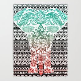 Indian Painted Elephant Poster