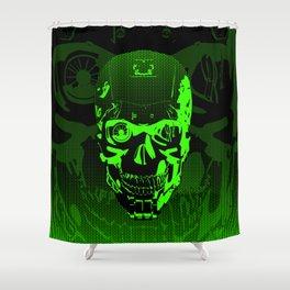 Gamer Skull CARTOON GREEN / 3D render of cyborg head Shower Curtain