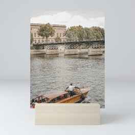 Parisian Antique Speedboat on the Seine River   Paris travel photograph, French culture wall art  Mini Art Print