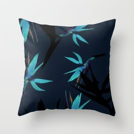 Fall print in navy and bright blue (also available in forest green and mustard) Throw Pillow