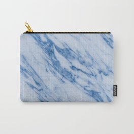 Azure Blue Marble on Marshmallow Cream Carry-All Pouch
