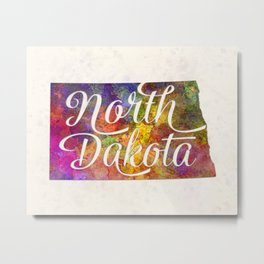 North Dakota US State in watercolor text cut out Metal Print