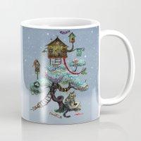 christmas tree Mugs featuring Christmas Tree by Anna Shell