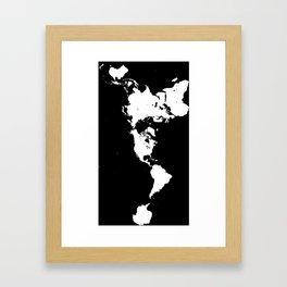 Dymaxion World Map (Fuller Projection Map) - Minimalist White on Black Framed Art Print