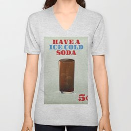 Ice Cold Soda drinks poster. Unisex V-Neck