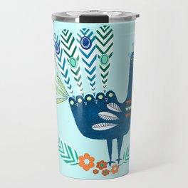 Folk Peacock Travel Mug