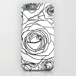 Feminine and Romantic Rose Pattern Line Work Illustration iPhone Case