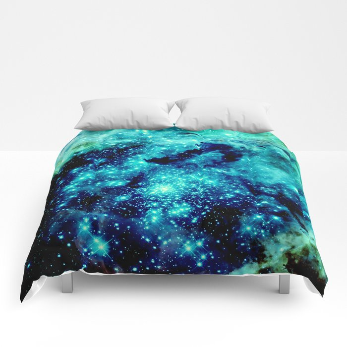 GALAXY. Teal Aqua Stars Comforters