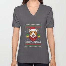 Merry Corgmas Motive for a Dog Lover Unisex V-Neck